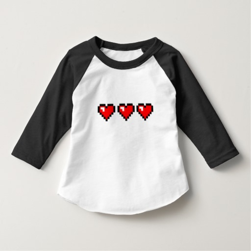 3 Red Pixel Hearts Toddler American Apparel 3/4 Sleeve Raglan T-Shirt