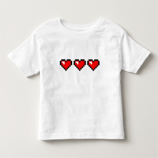 3 Red Pixel Hearts Toddler Fine Jersey T-Shirt