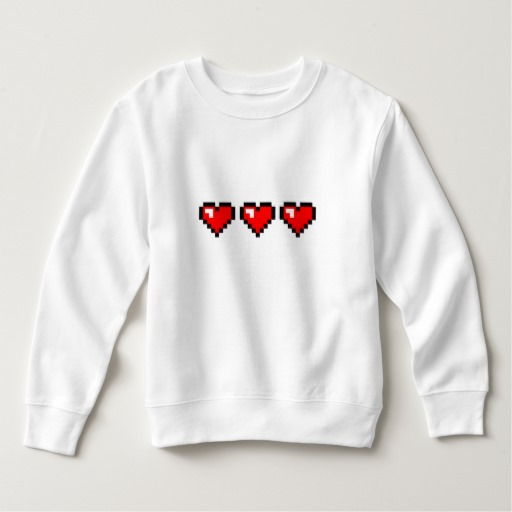 3 Red Pixel Hearts Toddler Fleece Sweatshirt