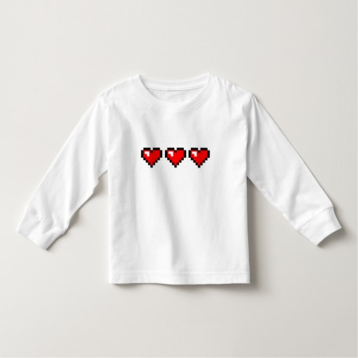 3 Red Pixel Hearts Toddler Long Sleeve T-Shirt