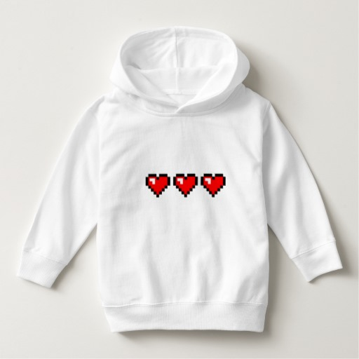 3 Red Pixel Hearts Toddler Pullover Hoodie