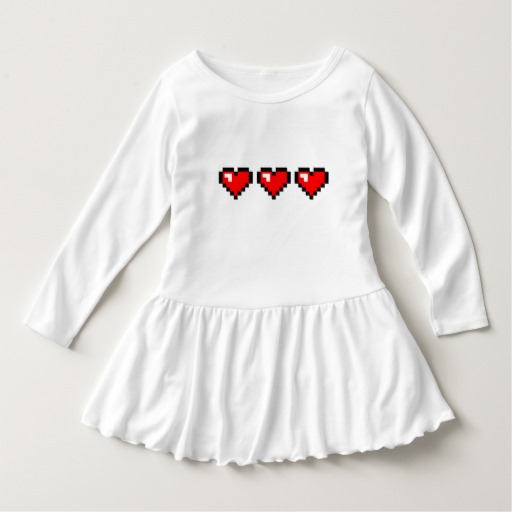 3 Red Pixel Hearts Toddler Ruffle Dress