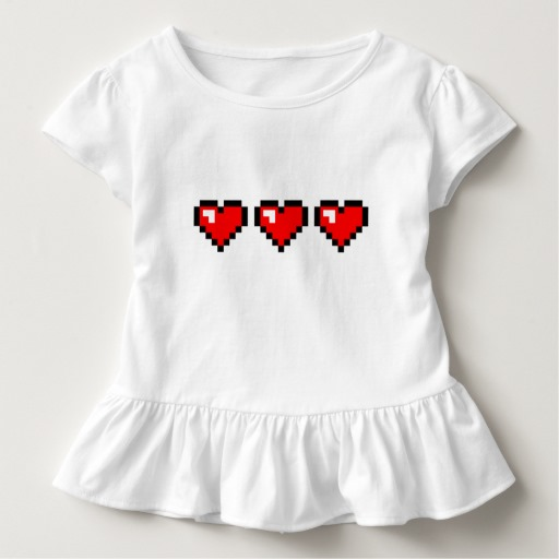 3 Red Pixel Hearts Toddler Ruffle Tee