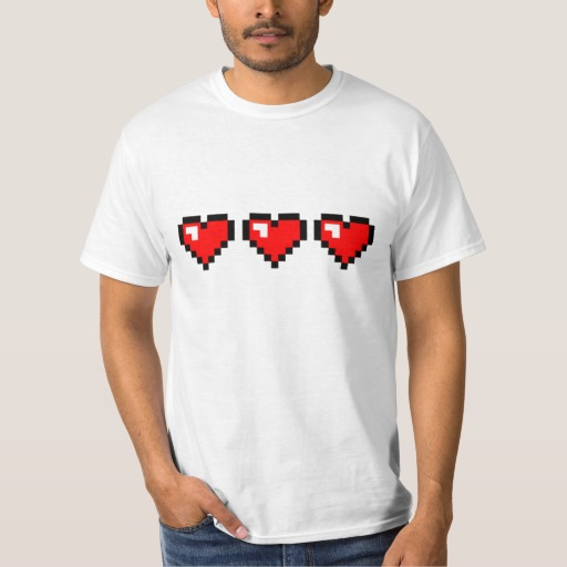 3 Red Pixel Hearts Value T-Shirt