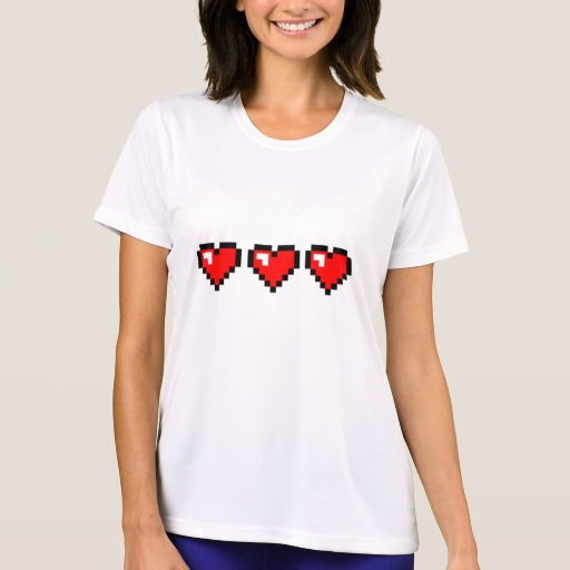3 Red Pixel Hearts Women's Sport-Tek Competitor T-Shirt