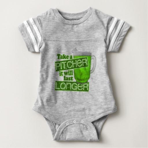 Take a Pitcher It will last Longer Baby Football Bodysuit