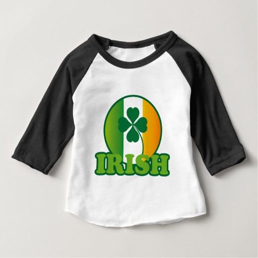 Circle Irish Flag Baby American Apparel 3/4 Sleeve Raglan T-Shirt