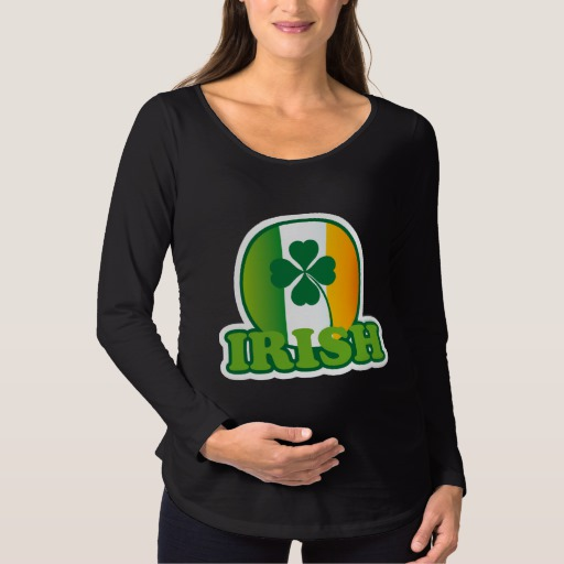 Circle Irish Flag Maternity Long Sleeve T-Shirt