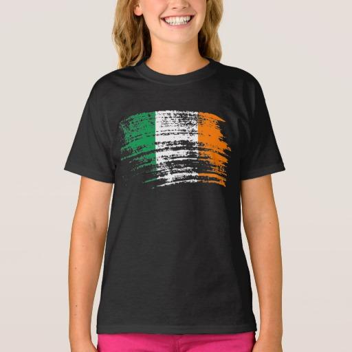 Graffiti Flag of Ireland Girls' Hanes TAGLESS® T-Shirt