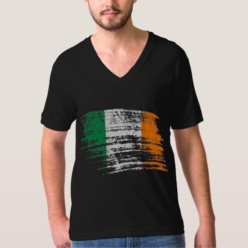Graffiti Flag of Ireland Men's American Apparel Fine Jersey V-neck T-Shirt