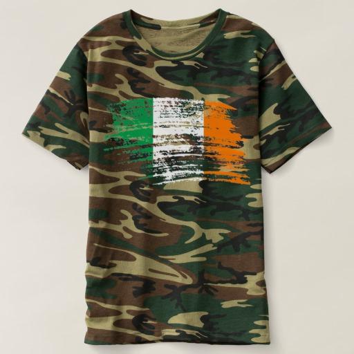 Graffiti Flag of Ireland Men's Camouflage T-Shirt