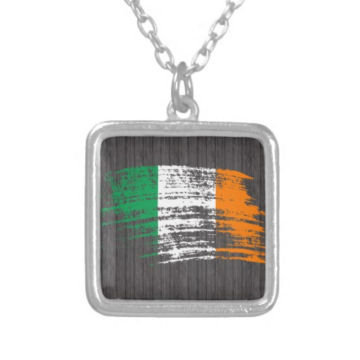 Graffiti Flag of Ireland Square Necklace