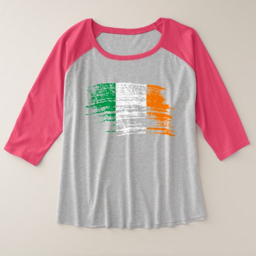 Graffiti Flag of Ireland Women's Plus-Size 3/4 Sleeve Raglan T-Shirt