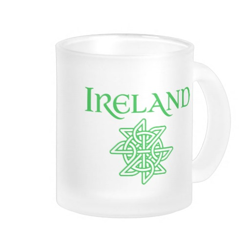 Ireland Celtic Knot Frosted Glass Mug
