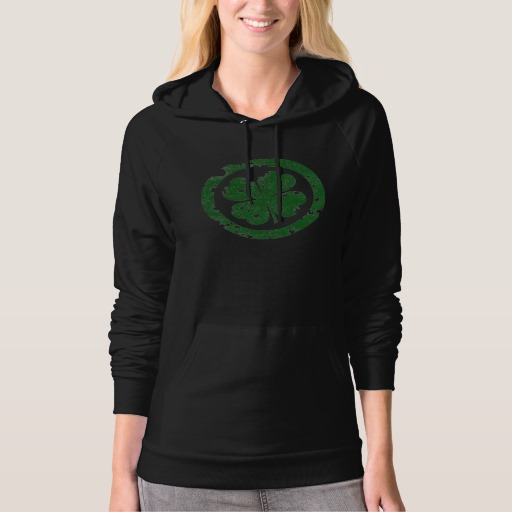 Circled 4 Leaf Clover American Apparel California Fleece Pullover Hoodie