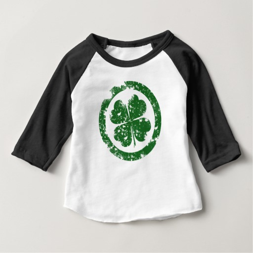 Circled 4 Leaf Clover Baby American Apparel 3/4 Sleeve Raglan T-Shirt