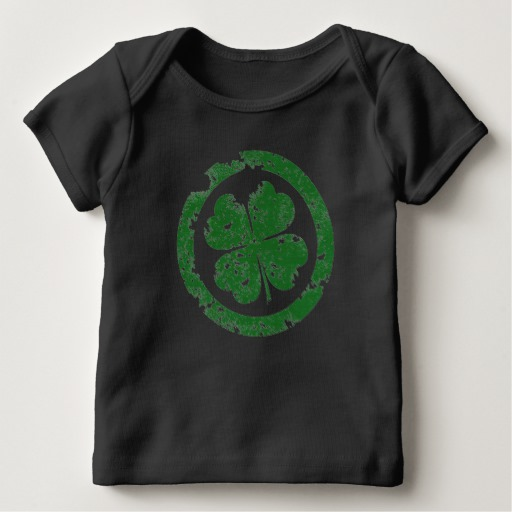 Circled 4 Leaf Clover Baby American Apparel Lap T-Shirt