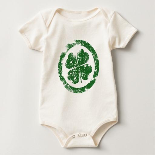 Circled 4 Leaf Clover Baby American Apparel Organic Bodysuit