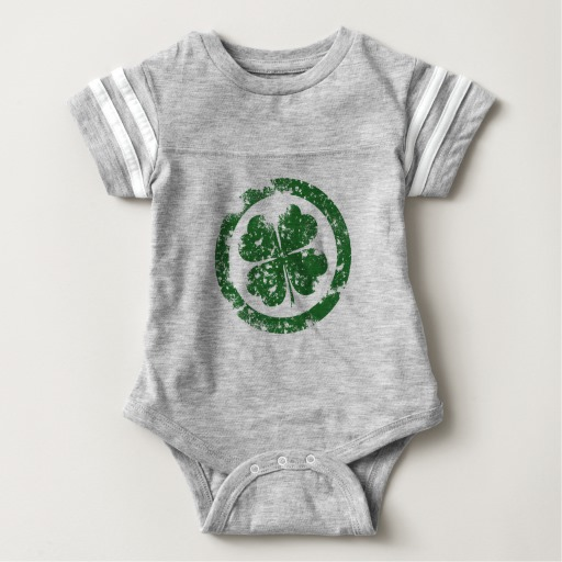 Circled 4 Leaf Clover Baby Football Bodysuit
