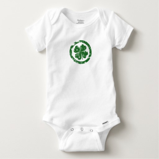 Circled 4 Leaf Clover Baby Gerber Cotton Onesie