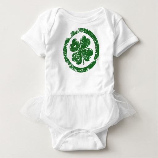 Circled 4 Leaf Clover Baby Tutu Bodysuit