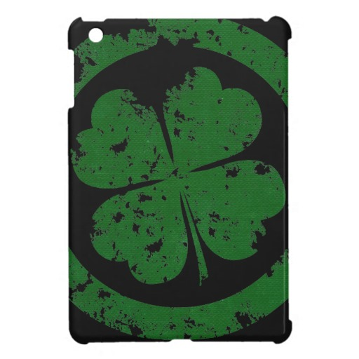 Circled 4 Leaf Clover Case Savvy iPad Mini Glossy Finish Case