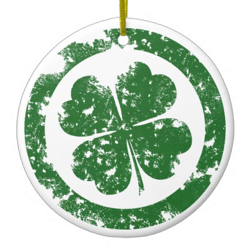 Circled 4 Leaf Clover Circle Ornament