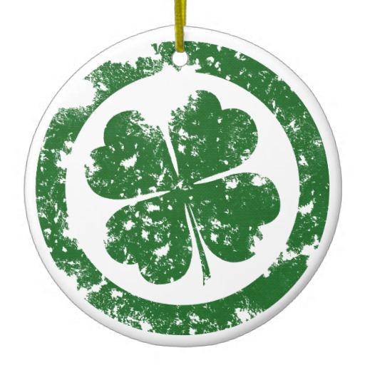 Circled 4 Leaf Clover Circle Ornament