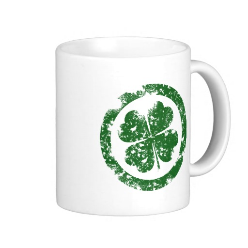 Circled 4 Leaf Clover Classic White Mug
