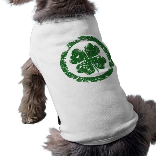 Circled 4 Leaf Clover Doggie Ribbed Tank Top