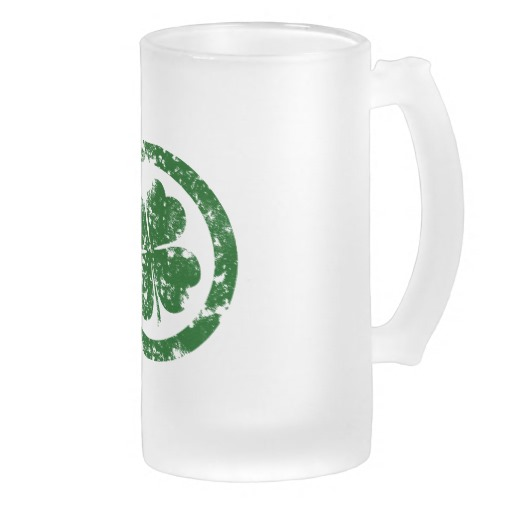 Circled 4 Leaf Clover Frosted Glass Mug