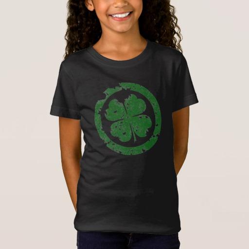 Circled 4 Leaf Clover Girls' Fine Jersey T-Shirt