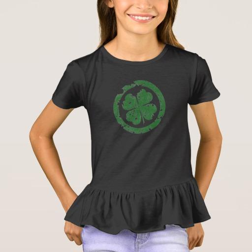 Circled 4 Leaf Clover Girls' Ruffle T-Shirt