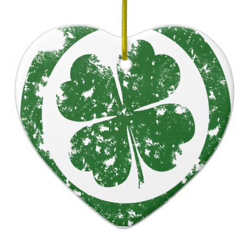 Circled 4 Leaf Clover Heart Ornament