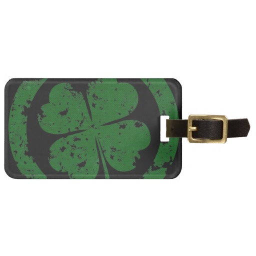 Circled 4 Leaf Clover Luggage Tag w/ leather strap