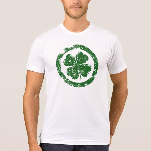 Circled 4 Leaf Clover Men's American Apparel Poly-Cotton Blend T-Shirt