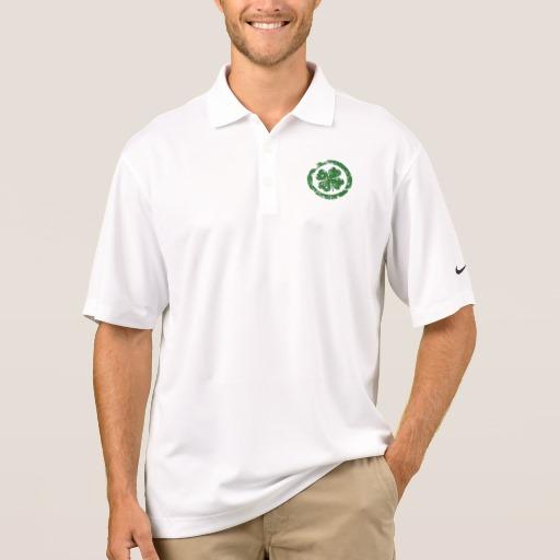 Circled 4 Leaf Clover Men's Nike Dri-FIT Pique Polo Shirt