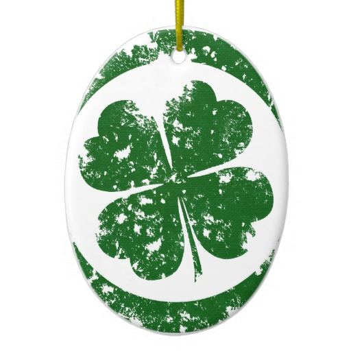 Circled 4 Leaf Clover Oval Ornament