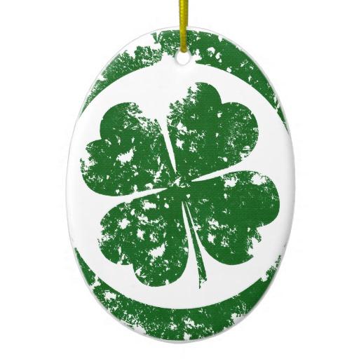 Circled 4 Leaf Clover Oval Ornament
