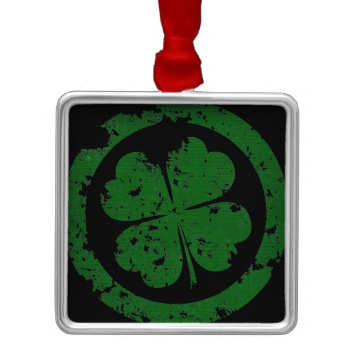 Circled 4 Leaf Clover Premium Square Ornament