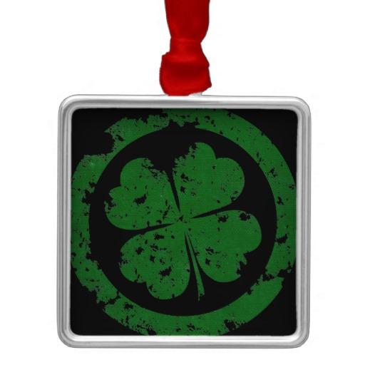 Circled 4 Leaf Clover Premium Square Ornament