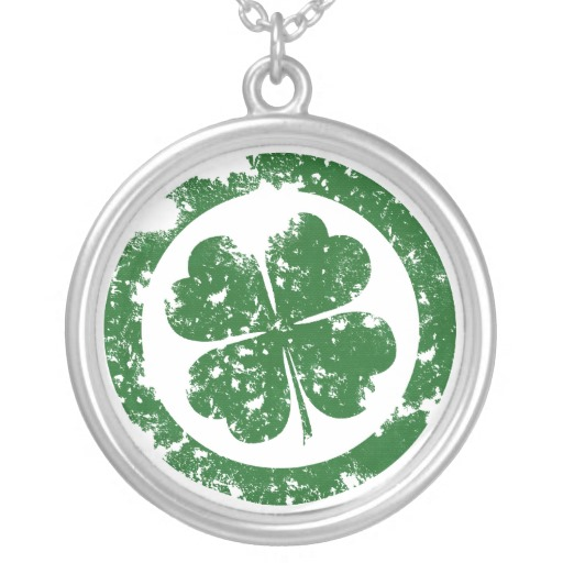 Circled 4 Leaf Clover Round Necklace