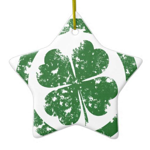 Circled 4 Leaf Clover Star Ornament