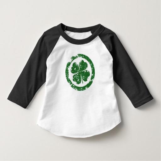 Circled 4 Leaf Clover Toddler American Apparel 3/4 Sleeve Raglan T-Shirt
