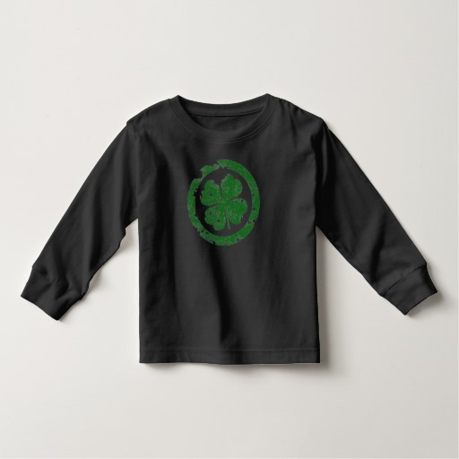 Circled 4 Leaf Clover Toddler Long Sleeve T-Shirt