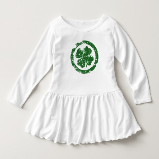 Circled 4 Leaf Clover Toddler Ruffle Dress