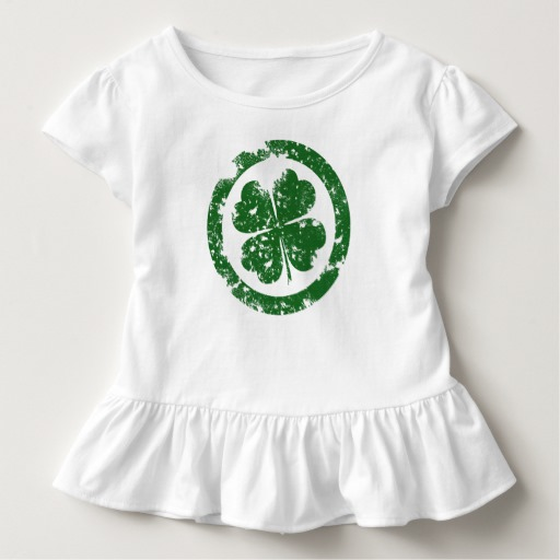 Circled 4 Leaf Clover Toddler Ruffle Tee