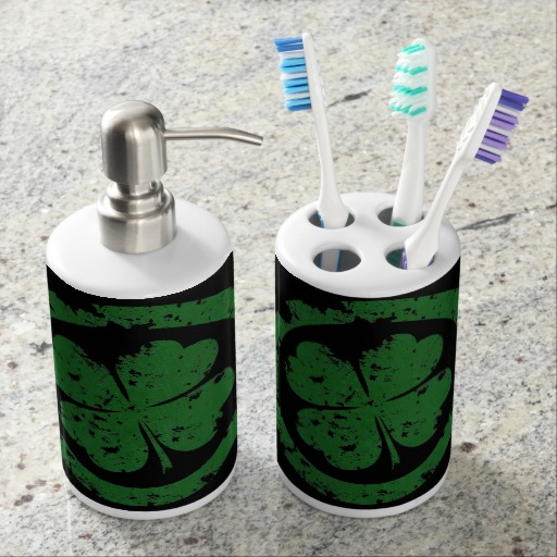 Circled 4 Leaf Clover Toothbrush Holder and Soap Dispenser Set