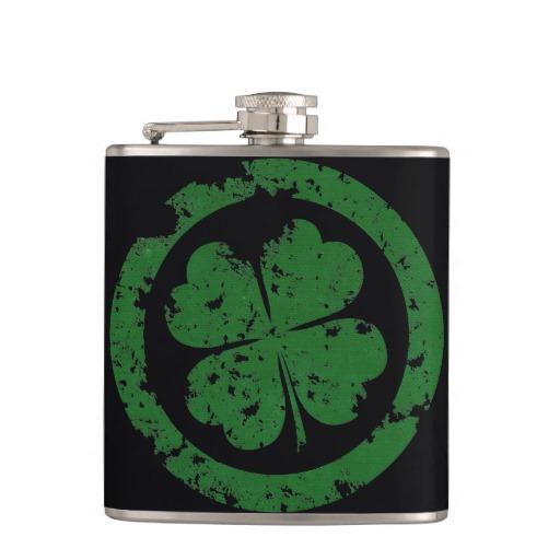 Circled 4 Leaf Clover Vinyl Wrapped Flask