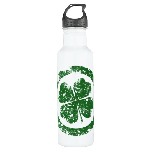 Circled 4 Leaf Clover Water Bottle